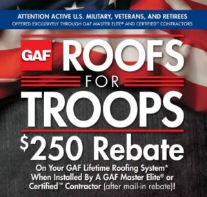 GAF Roofs for Troops Military Discount