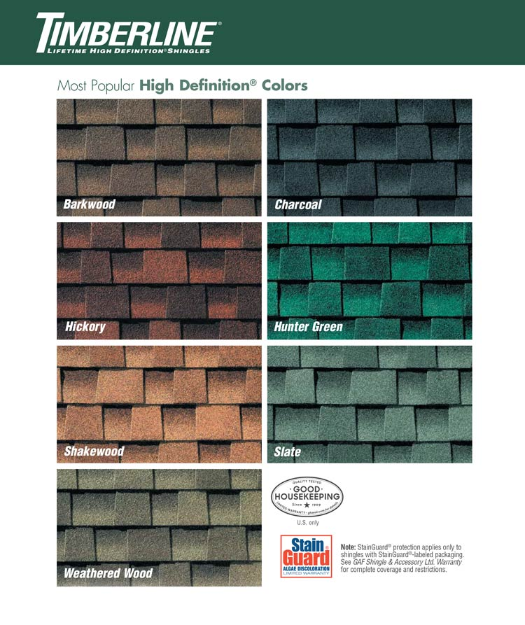 Roof shingle colors timberline aurora roofing contractors for Best roof color